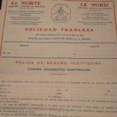 Documentos antiguos: PÓLIZA DE SEGURO INDIVIDUAL SEGUROS EL NORTE. Lote 150821754