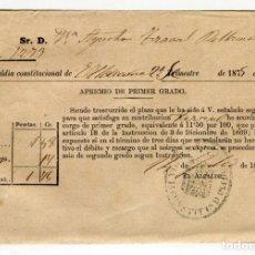 Documentos antiguos: ULLDECONA (MONTSIÁ) ALCALDIA APREMIO DE PRIMER GRADO FIRMA Y SELLO AYUNTAMIENTO AÑO 1876 EXCELENTE. Lote 150844704
