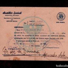 Documentos antiguos: 0455 CARNET DEL SERVICIO SOCIAL DE LA MUJER - AUXILIO SOCIAL CON ERROR EN LA FECHA 19 SEPTIEMBRE DE . Lote 150873538