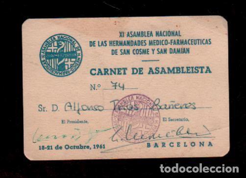 0455 XI ASAMBLEA NACIONAL DE LAS HERMANDADES MEDICO-FARMACEUTICAS DE SAN COSME Y DAMIAN CARNET DE AS (Coleccionismo - Documentos - Otros documentos)