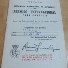 Documentos antiguos: PERMISO INTERNACIONAL PARA CONDUCIR AÑO 1957. Lote 150947650