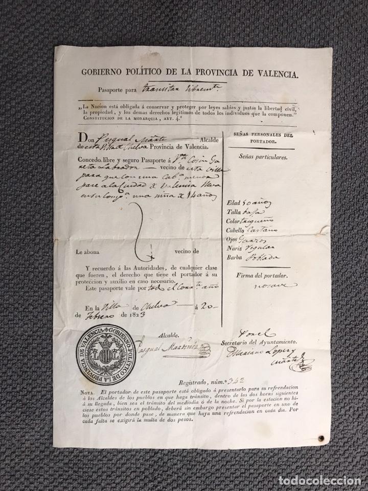 CHELVA. GOBIERNO POLÍTICO DE LA PROVINCIA DE VALENCIA. PASAPORTE PARA TRANSITAR LIBREMENTE (A.1823) (Coleccionismo - Documentos - Otros documentos)