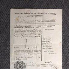 Documentos antiguos: CHELVA. GOBIERNO POLÍTICO DE LA PROVINCIA DE VALENCIA. PASAPORTE PARA TRANSITAR LIBREMENTE (A.1823). Lote 151016897