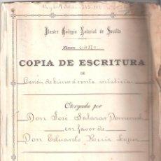 Documentos antiguos: ESCRITURA DE CESIÓN DE BIENES Á RENTA VITALICIA- CÁDIZ, 31 JULIO 1911 - MANUSCRITO 30 FOLIOS.. Lote 151019046