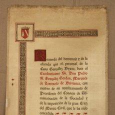 Documentos antiguos: BANDO EN SEDA RECUERDO HOMENAJE AL MARQUES DE TORRESOTO. JEREZ DE LA FRONTERA AÑO 1959. Lote 151378682