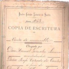 Documentos antiguos: ESCRITURA DE VENTA DE INMUEBLE C/ COBOS Nº 1Y9 - CÁDIZ 30 SEPTIEMBRE 1915. MANUSCRITO 21 FOLIOS. . Lote 152049154