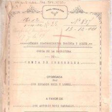 Documentos antiguos: ESCRITURA VENTA DE INMUEBLE D. EDUARDO RUIZ Y LOPEZ. CÁDIZ 8 NOVIEMBRE 1921.21 FOLIOS.. Lote 152180318
