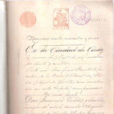 Documentos antiguos: ESCRITURA DE COMPRA VENTA C/ SAN JUAN Nº 23 CÁDIZ 9 DE MAYO 1924. MANUSCRITO. 17 FOLIOS. . Lote 152182074