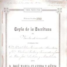 Documentos antiguos: ESCRITURA DE VENTA INMUEBLE C/ ENCARNACIÓN Nº 24. CÁDIZ 12 JUNIO 1903. MANUSCRITO 9 FOLIOS. . Lote 152182678