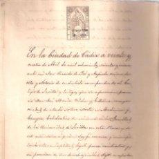 Documentos antiguos: ESCRITURA DE PRÉSTAMO D. JOSÉ MARÍA VILCHES . CÁDIZ 4 ABRIL 1869. MANUSCRITO 16 FOLIOS. . Lote 152182942