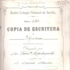 Documentos antiguos: ESCRITURA HIPOTECA FRANCISCO MALAGOTTO CÁDIZ 1 ABRIL 1919. MANUSCRITO. 12 FOLIOS. . Lote 152184706