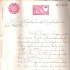 Documentos antiguos: ESCRITURA REGISTRO PROPIEDAD CASA C/ ENCARNACIÓN Nº 24 CÁDIZ 24 JUNIO 1903. MANUSCRITO. . Lote 152185754