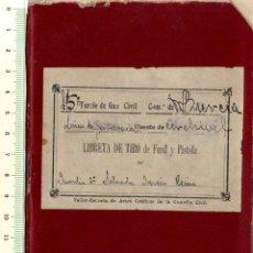 Documentos antiguos: GUARDIA CIVIL COMANDANCIA MURCIA RARA LIBRETA DE TIRO FUSIL Y PISTOLA AÑOS TREINTA . Lote 152188558