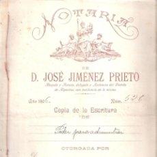 Documentos antiguos: ESCRITURA PODER ADMINIST. D. FRANCISCO Y D. JOSÉ CARABAYO ROMERO ALGECIRAS 10 OCTUBRE 1906.. Lote 152189486