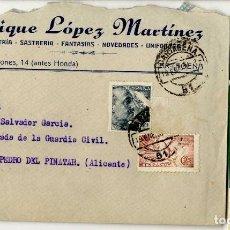 Documentos antiguos: CARTAGENA SASTRERIA ENRIQUE LOPEZ MARTINEZ SOBRE CIRCULADO CON CARTA . Lote 152190506