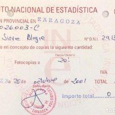 Documentos antiguos: RECIBO INSTITUTO NACIONAL DE ESTADÍSTICA DE 2001 (ZARAGOZA). Lote 152190882