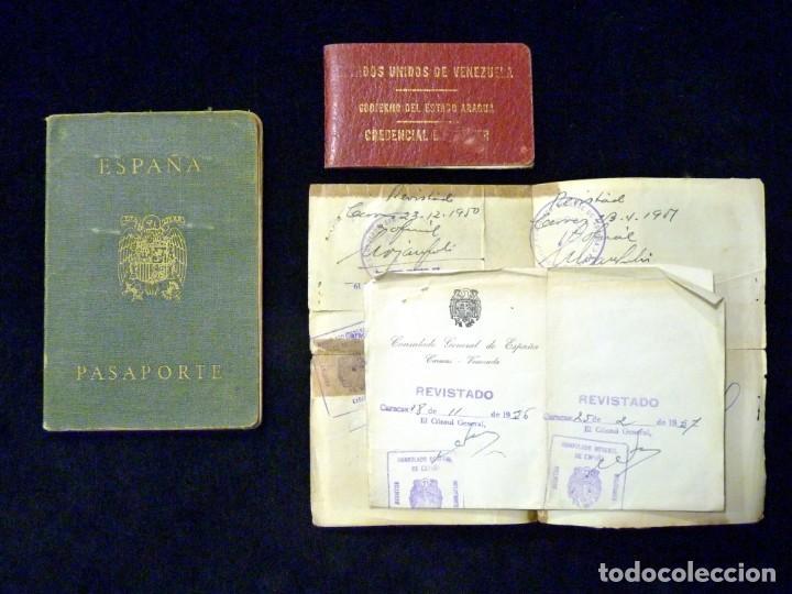 PASAPORTE MATRIMONIO, EXPEDIDO EN SAN SEBASTIAN, 1950. CONSULADO CARACAS. TITULO CHOFER + PAPELES (Coleccionismo - Documentos - Otros documentos)