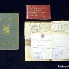 Documentos antiguos: PASAPORTE MATRIMONIO, EXPEDIDO EN SAN SEBASTIAN, 1950. CONSULADO CARACAS. TITULO CHOFER + PAPELES. Lote 152431038