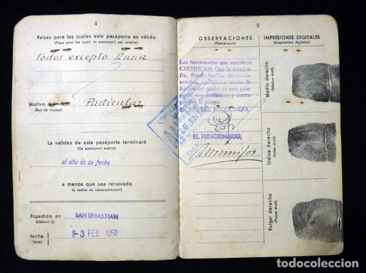 Documentos antiguos: PASAPORTE MATRIMONIO, EXPEDIDO EN SAN SEBASTIAN, 1950. CONSULADO CARACAS. TITULO CHOFER + PAPELES - Foto 5 - 152431038