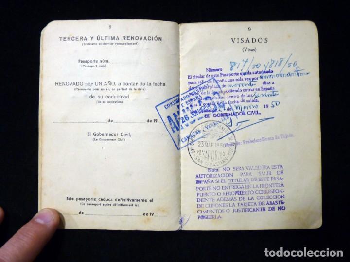 Documentos antiguos: PASAPORTE MATRIMONIO, EXPEDIDO EN SAN SEBASTIAN, 1950. CONSULADO CARACAS. TITULO CHOFER + PAPELES - Foto 7 - 152431038