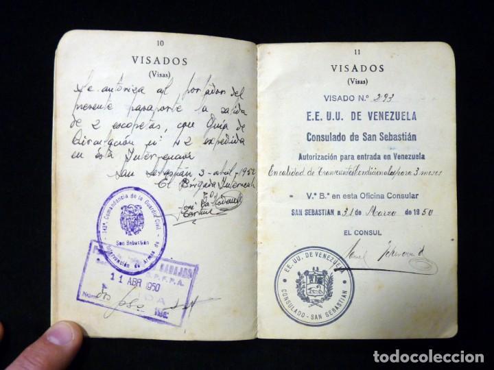 Documentos antiguos: PASAPORTE MATRIMONIO, EXPEDIDO EN SAN SEBASTIAN, 1950. CONSULADO CARACAS. TITULO CHOFER + PAPELES - Foto 9 - 152431038