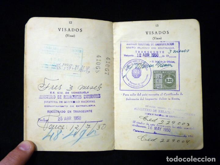 Documentos antiguos: PASAPORTE MATRIMONIO, EXPEDIDO EN SAN SEBASTIAN, 1950. CONSULADO CARACAS. TITULO CHOFER + PAPELES - Foto 10 - 152431038
