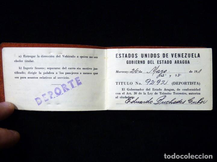 Documentos antiguos: PASAPORTE MATRIMONIO, EXPEDIDO EN SAN SEBASTIAN, 1950. CONSULADO CARACAS. TITULO CHOFER + PAPELES - Foto 15 - 152431038
