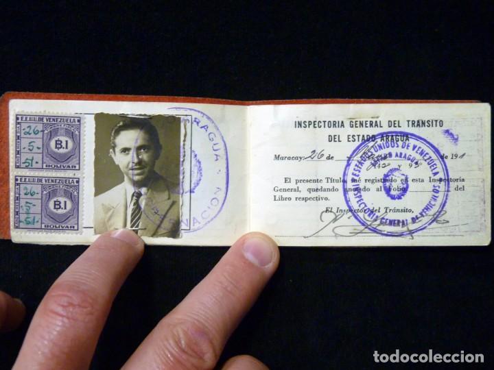 Documentos antiguos: PASAPORTE MATRIMONIO, EXPEDIDO EN SAN SEBASTIAN, 1950. CONSULADO CARACAS. TITULO CHOFER + PAPELES - Foto 16 - 152431038