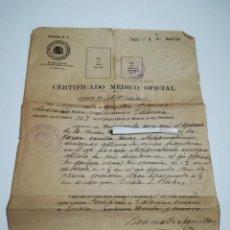 Documentos antiguos: CERTIFICADO MÉDICO AGRUPACIÓN PROFESIONAL MÉDICOS DE VALENCIA ENERO 1939. Lote 152486414