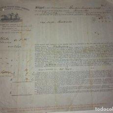 Documentos antiguos: DOCUMENTO DE EMBARQUE DE LA REGULAR LINE OF SPANISHSCREW STEAMERS LONDON & LIVERPOL 1871. Lote 152486878