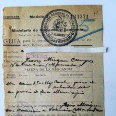 Documentos antiguos: DIRECCION GENERAL DE ABASTECIMIENTOS CONSEJO MUNICIPAL DOMEÑO VALENCIA AGOSTO 1938. Lote 152487774