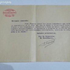 Documentos antiguos: DOCUMENTO RECORDATORIO PAGO ASOCIACIÓN TRABAJADORES MUNICIPALES VALENCIA AÑOS 30. Lote 152487866
