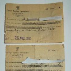 Documentos antiguos: TRES RECIBOS PAGO CUOTA FALANGE ESPAÑOLA DE LAS J.O.N.S. VALENCIA 1941 1943. Lote 152488030