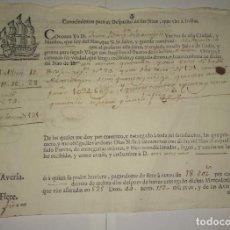 Documentos antiguos: DOCUMENTO DE 1778 CONOCIMIENTOS PARA EL DESPACHO DE LAS NAOS QUE VAN A INDIAS . Lote 152488406