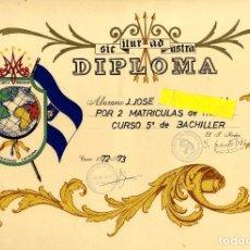 Documentos antiguos: CARTAGENA COLEGIO LA INMACULADA PADRES FRANCISCANOS DIPLOMA AÑOS SETENTA 31 X 45 CM. Lote 152724290