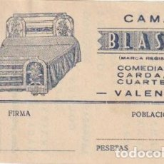 Documentos antiguos: TARJETA COMERCIAL CAMAS BLASCO - CUARTE,30 VALENCIA - -D-12. Lote 152741326