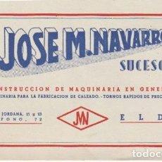 Documentos antiguos: TARJETA COMERCIAL JOSE M. NAVARRO CONSTRUCCION DE MAQUINARIA PARA CALZADO ELDA ALICANTE - -D-12. Lote 152742526
