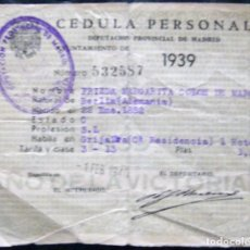 Documentos antiguos: CÉDULA PERSONAL 1939. Lote 152970518