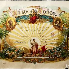 Documentos antiguos: DIPLOMA ANTIGUO LITOGRAFIA ILUSTRADA - DIPLOMA DE HONOR DE 2º GRADO - AÑO 1928- TAMAÑO 47X31 CMS. Lote 152977062