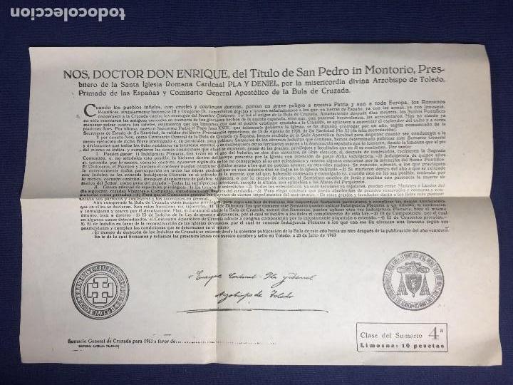 DOCUMENTO SUMARIO GENERAL DE CRUZADA DADO POR ENRIQUE CARDENAL Y ARZOBISPO DE TOLEDO 1963 (Coleccionismo - Documentos - Otros documentos)