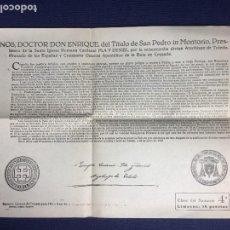 Documentos antiguos: DOCUMENTO SUMARIO GENERAL DE CRUZADA DADO POR ENRIQUE CARDENAL Y ARZOBISPO DE TOLEDO 1963. Lote 153057270