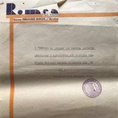 Documentos antiguos: 1934 TEATRO ROMEA. DOCUMENTO INTERNO 21,6X27,5 CM. Lote 153076422