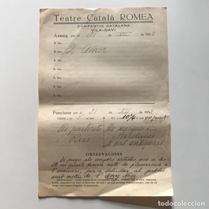 1932 Teatro Romea. Documento manuscrito ensayo 22x31,8 cm - 153076962