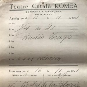 1931 Teatro Romea. Documento manuscrito ensayo 22x31,8 cm
