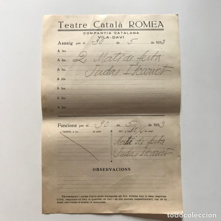 1933 Teatro Romea. Documento manuscrito ensayo 22x31,8 cm - 153077722