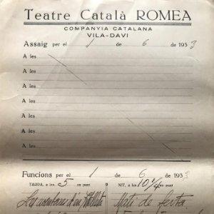 1933 Teatro Romea. Documento manuscrito ensayo 22x31,8 cm