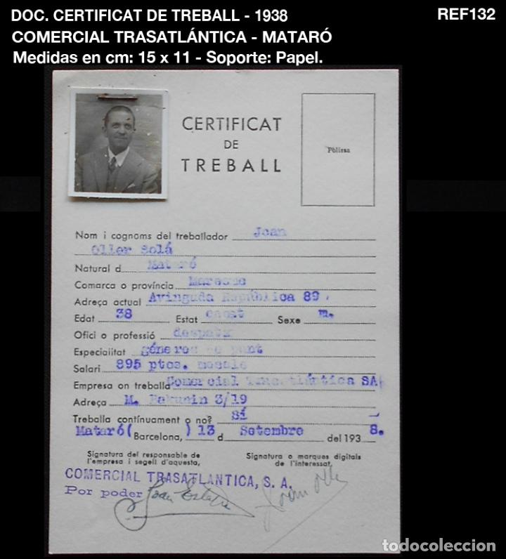 DOC. CERTIFICAT DE TREBALL - 1938 - COMERCIAL TRASATLÁNTICA S.A. - MATARÓ (Coleccionismo - Documentos - Otros documentos)