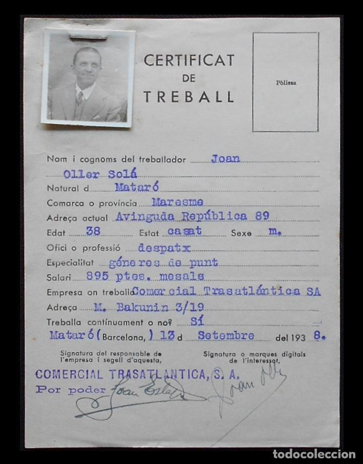 Documentos antiguos: DOC. CERTIFICAT DE TREBALL - 1938 - COMERCIAL TRASATLÁNTICA S.A. - MATARÓ - Foto 2 - 206972560