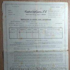 Documentos antiguos: DOCUMENTO DE SEGURO PARA AUTOMÓVILES DE 1965. Lote 153329494