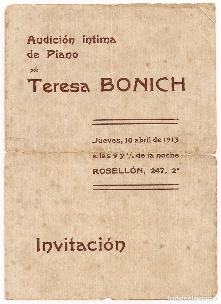 INVITACIÓN AUDICIÓN INTIMA DE PIANO POR LA PIANISTA TERESA BONICH - AÑO 1913 (Coleccionismo - Documentos - Otros documentos)